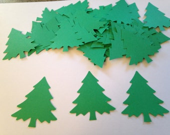 50 Large Christmas Tree Cut Outs, Tree Die Cuts, Christmas Confetti, Tree Confetti, Christmas Party Decor, Holiday Confetti, Table Decor