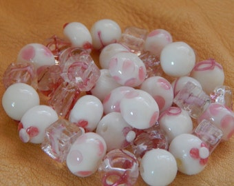 38 Handmade Glass Lampwork Beads, Pink Ribbon Assorted, Breast Cancer Awareness, Jewelry Craft