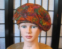 Vintage 1950s 1960s Beret Marshall Field Orange Green Purple Black Feathers Hat Cloche Deco Style L 50s does 20s 10s Midcentury Millinery