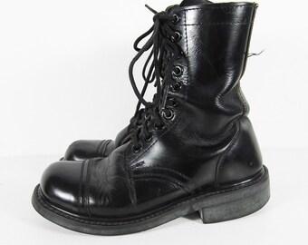 Vintage 70s Combat Boots Black Leather Jump Boots Cap Toe Lace Up - Men's Size 6 E
