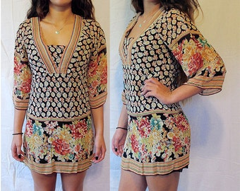Floral Hippie Mini Dress - Festival - Size Small