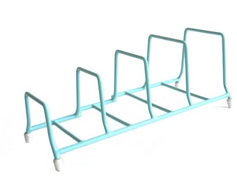 Vintage Rubbermaid Turquoise Blue Rubber Coated Dish Rack Plate Holder Trailer 50s