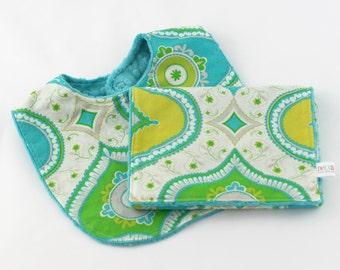 Minky Baby Bib and Burp Cloth Gift Set, Kumari Garden Minky Baby Bib, Boho Baby Gift Set, Baby Shower Gift, Neutral Girl Boy, Ready to Ship