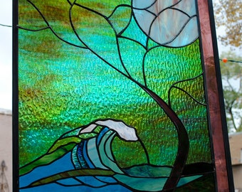 Stained Glass Window Panel • Wave Tree Moonlight Hawaii Turquoise Surf Australia Mexico California