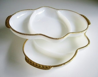 Vintage, Fire King, Divided Serving Dish, Relish Dishes, White Milk Glass, Gold Trim, Set of 2, Christmas Dishes, Gold and White