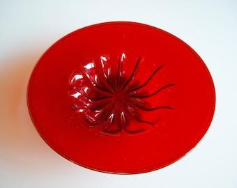 Vintage, Art Glass Bowl, Venini Soffiato, Red, Napoleone Martinuzzi, Italian Art Glass, Rare, Collectible, Venetian Art Glass, Art Deco