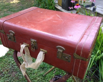 Vintage suitcase, leather suitcase, vintage brown leather suitcase