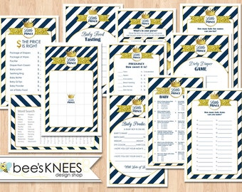 Baby Shower Game Set Includes Little Prince Printable Bingo Cards Navy and Gold - Instant Download