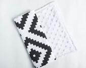 Baby Burp Cloth Black Diamond - Minky Burp Cloth - Black Burp Cloth - Baby Shower Gift - Monochrome Burp Cloth - Aztec Burp Cloths
