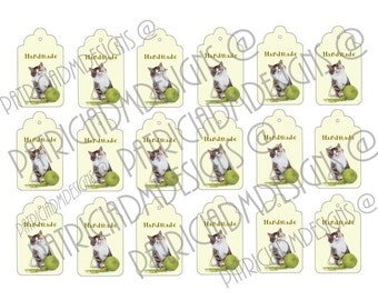 HANDMADE  Set of 18  Printable Tags/ Digital Download - Hang Tags/ Digital Download Printable Hang Tags