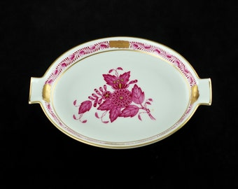 """Vintage Herend Raspberry """"Chinese Bouquet"""" Porcelain Two Rest Ashtray 7783"""
