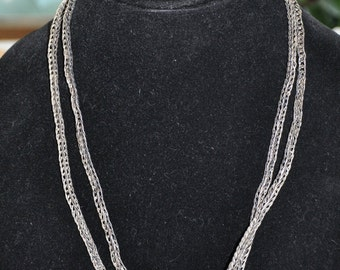 Vintage Sterling Necklace - braid chain - vintage
