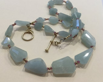 Aquamarine and Pink Tourmaline Nugget Necklace