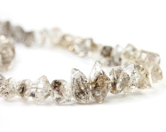 Herkimer Diamond Crystal Beads 4 Double Terminated Herkimer Diamond Clear Black Semi Precious Gemstones