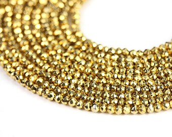 Gold Pyrite Micro Faceted Rondelles Gold Semi Precious Gemstones