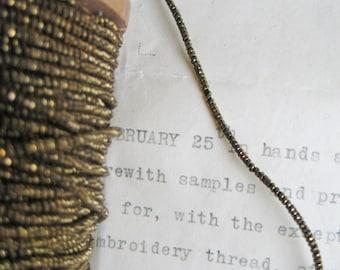 "4 yd Vintage Antique French Dark Gold Metallic Beadette Cord Trim 1/16"" Lampshade Pillow"