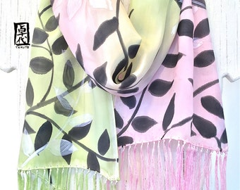 Hand painted Silk Scarf, Gift for Her, Handpainted, Apple Green and Pink Silk Fringe Scarf, Black and White Vine Scarf, 8x54 inches.