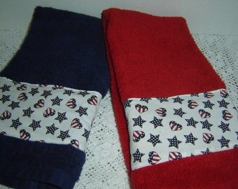 Navy or red hand/dish towel w/red, white, blue stars/stripes/hearts, 100% cotton terry, Americana,  patriotic holidays, USA, hostess gift