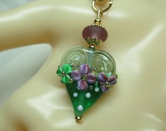 Gilded Emerald Green Heart Lampwork Bead Pendant Necklace