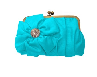 Turquoise Bridesmaid clutch, Custom Bridesmaid Clutches, Wedding gifts