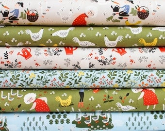 Fat Quarter Bundle - Gardening from Windham Fabric Bundle - 6 quarter fat pieces (B381)