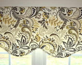 Scalloped Window Valance Topper Window Treatment Scalloped Paisley Grey Gold Black Paisley Valance