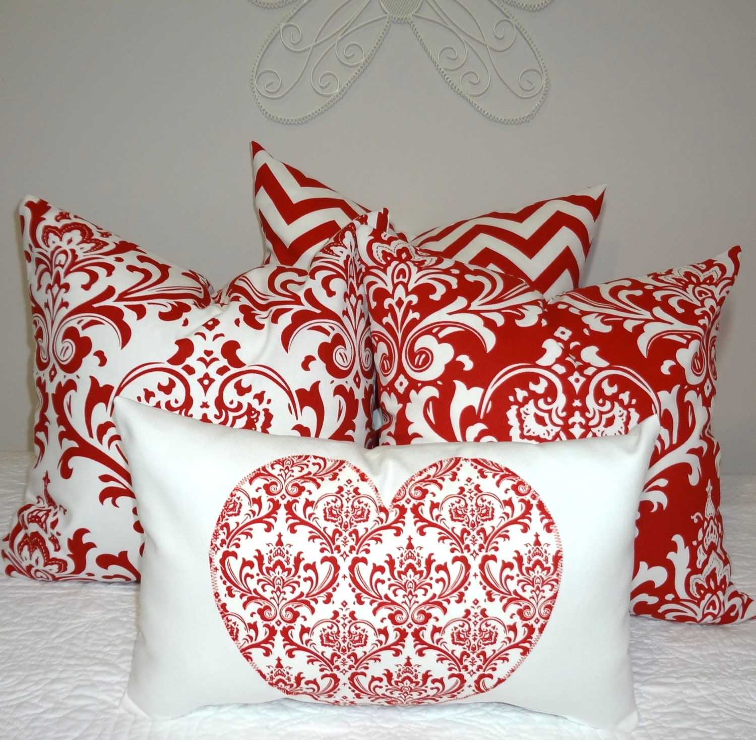 Decorative Valentine Pillows : Decorative Valentine Heart Pillow Lumbar Valentine Red Damask