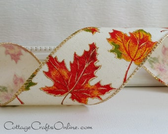 "Fall Wired Ribbon, 2 1/2"", Red, Orange, Green Maple Leaf Pattern on Cream, Gold Metallic - THREE YARDS - ""Scattered"" Wire Edged Ribbon"