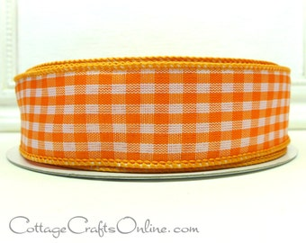 "Wired Ribbon 1 1/2"", Orange White Gingham Check Plaid, FIFTY YARD ROLL, Offray - Summer, Spring, Easter, Wreath, Halloween Wired Edge Ribbon"