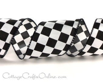 "Wired Ribbon, 2 1/2""  Black White Check Plaid, THREE YARDS,  Offray ""Fini"" Racing Finish Flag / Checkerboard / Craft Wire Edge Ribbon"