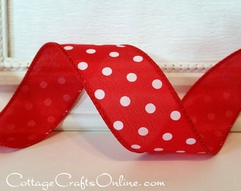 """Wired Ribbon 1 1/2"""", Red with White Polka Dots, THREE YARDS, Offray Ribbon, Spring, Summer, July 4th, Christmas Wire Edged Ribbon ff"""