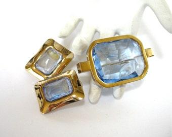 Large Rhinestone Brooch and Earring Set, 1980's, pierced ears, pale blue, gold tone