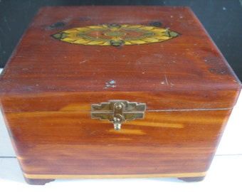 Vintage Wooden Cigar Box - Decorative