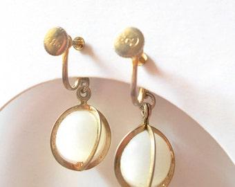 Vintage Coro Moonglow Earrings -1940s Screw Back White Hanging
