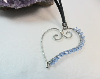 Love Heart - Beautiful Silver and Blue Swarovski Crystal Heart - Love - by Chicartistique