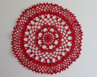 "Crochet Red Round Doily = 13"" Lacy Centerpiece"