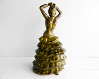 Vintage Large Ceramic Flamenco Dancer Figurine - Olive Green Pottery - Spanish Woman Statue