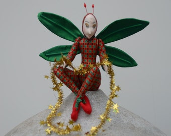 Christmas Tree Fairy, OOAK Art Doll, Candy