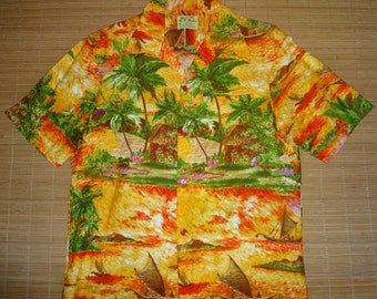 Mens Vintage 70s Ui Maikai Sailing Canoe Hokule'a Hawaiian Shirt - L - The Hana Shirt Co