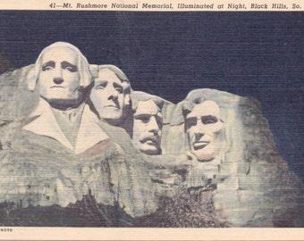 Mt. Rushmore, Black Hills, South Dakota - Linen Postcard - Unused (D1)