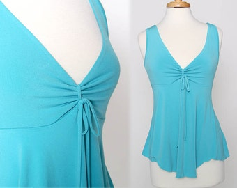 Vintage 90s Aqua Blue Sleeveless Flowy Top