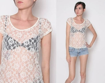 ON SALE Vintage 90s Cream Lace Peek a boo Shirt / S