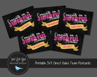 Direct Sales Team Achievement Celebration Post Cards - Thirty-One Gifts - YOU PRINT (Digital File) 5x7
