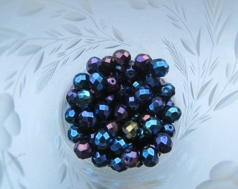 Czech Preciosa Faceted 8mm Blue Iris Beads 25Pcs.