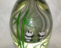 Vintage Large Paper Weight Vase Panda and Bamboo