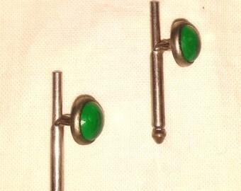 Vintage 1890's Edwardian Emerald Color Stone Spring Back Cufflinks Cuff Links Cuffs