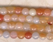 10mm Faceted Red Agate, 7.5 inch Strand, 10mm Orange Stone Beads, Faceted Agate Beads, 10mm Orange Agate, 10mm Peach Agate, 10mm White Agate