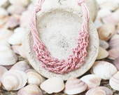 Dusty rose layered necklace Multi strand Crochet jewelry Boho chic Bohemian Blush pink wedding Gift for her