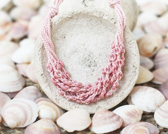 Dusty rose layered necklace Multi strand Crochet jewelry Boho chic Bohemian Blush pink wedding Gift for her Spring Summer