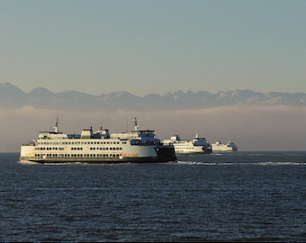 Ferry Photograph, Seattle Photo, Puget Sound photo, home decor, wall decor, nautical photo